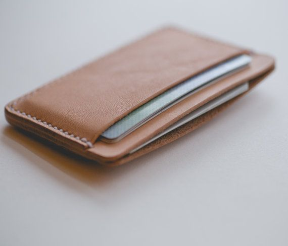 Minimalist three pocket leather card wallet