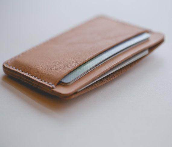 Minimalist three pocket leather card wallet