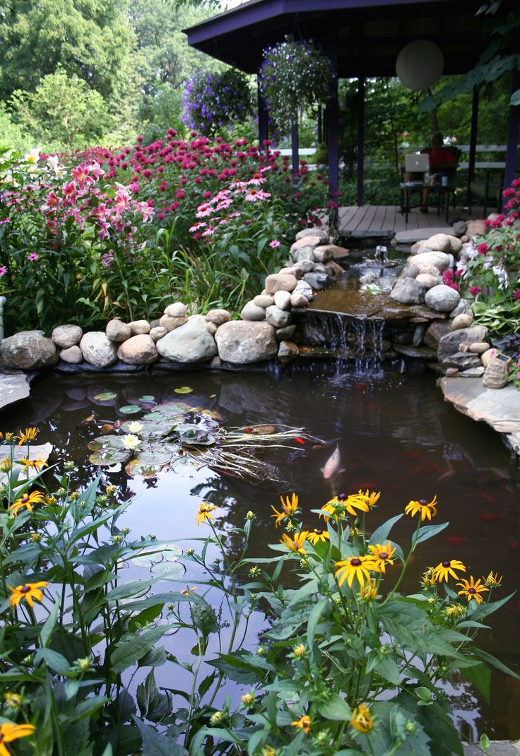 Koi pond by the new gazebo my garden michigan gardens for Outdoor pond