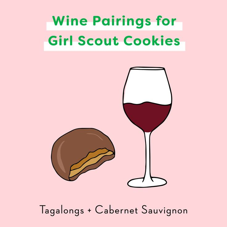 Pair your Tagalongs Girl Scout Cookies with a bottle of Cabernet Sauvignon. Save this for even more wine pairings for your Girl Scout Cookies.