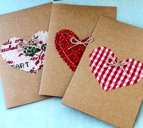 Valentien Cards- Kraft brown paper and fabric hearts !