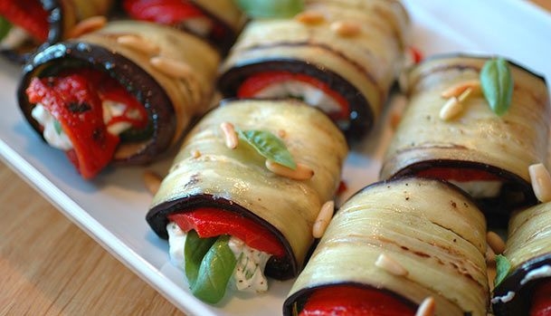 Aubergine Rolls with Zucchini and Red Pepper.