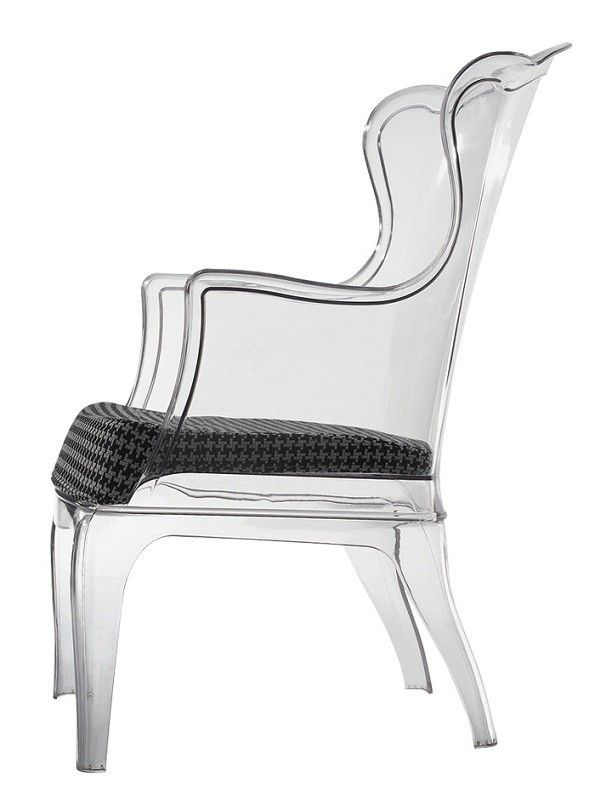 Replica Dondoli and Pocci Pasha Armchair -- The Replica Dondoli and Pocci Pasha Armchair is a triumph of sophistication and timeless style. Moulded from clear polycarbonate with a houndstooth pattern cushion in black and white for extra comfort, this modern armchair is the perfect blend of old and new design and makes for an eye catching piece in any setting.  $545