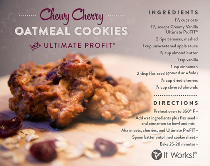 Try your cherries with the power of protein with this delicious cookie recipe. Shake and bake! For more It Works! ProFIT recipes visit our website: http://www.theultimatecrazywrap.com/profit-recipes.html