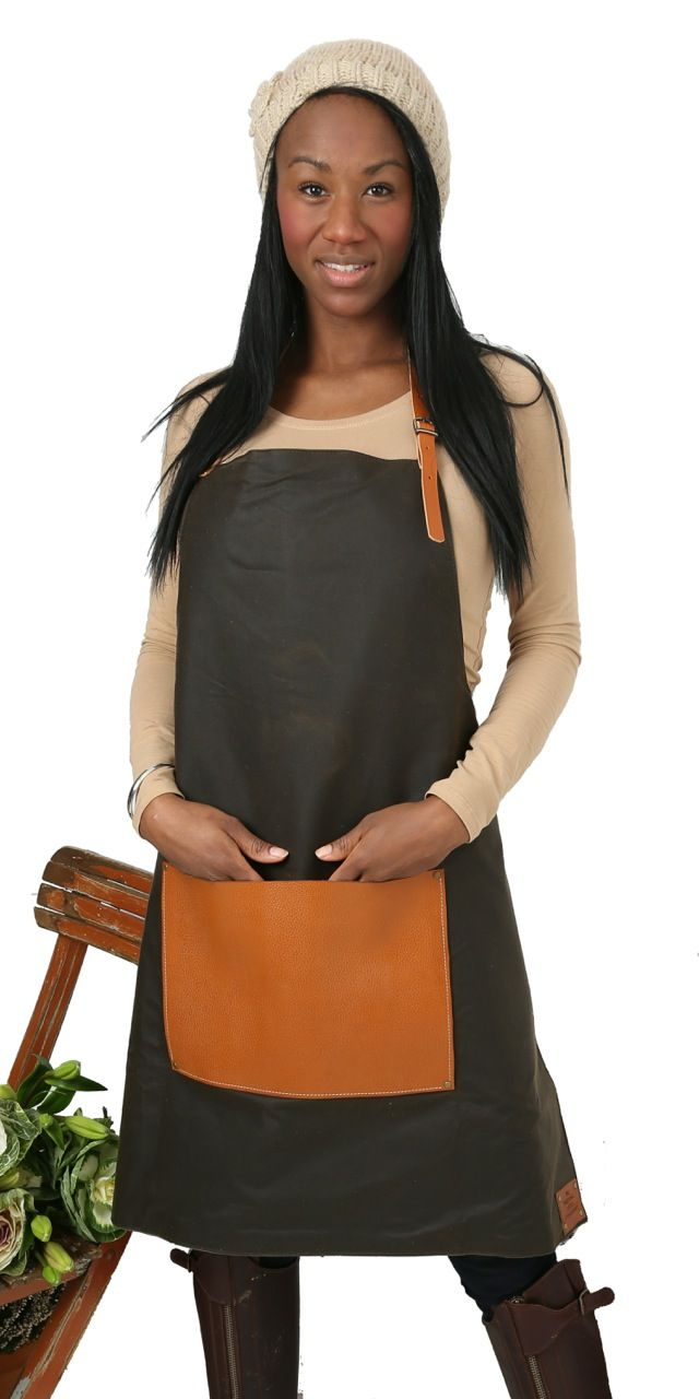 Hardy leather and waxed cotton apron, with canvas lining Perfect for gardening or crafting to give protection to both yourself and your clothing. These aprons always receive great comments, and are appealing to both gardeners, florists and also fabulous relaxed alternatives to a more regimental uniform for smaller groups of colleagues working in a shopfront …
