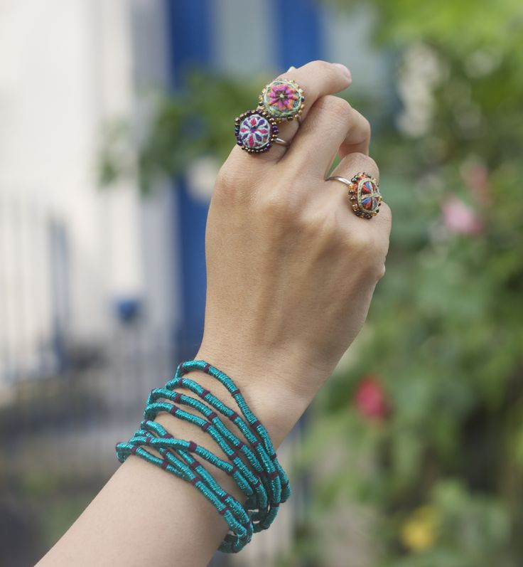S jo accessories Zohra bracelet and our new hand embroidered rings.