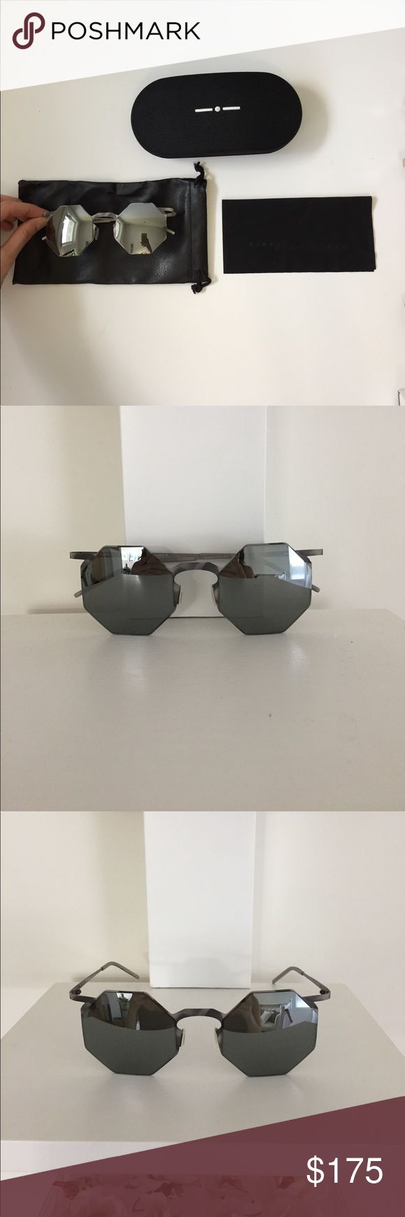 Authentic Italia Independent Designer sunglasses Worn once, like new condition sunnies. Made in Italy, pattern on side, with reflective lenses. See images for details! Leather pouch and original case. italia independent  Accessories Sunglasses
