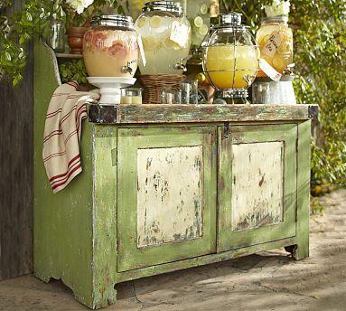 Ellsworth Entertaining Buffet #potterybarn: Potterybarn, Buffet Tables, Idea, Pots Tables, Drinks Stations, Rustic Looks, Parties, Beverages Stations, Pottery Barns