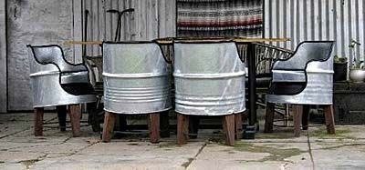 Love these for outside or basement   galvanized bucket chairs.....fun for end chairs