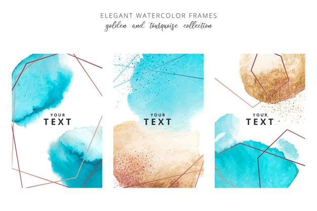 Watercolor Frames With Golden And Tourquoise Splashes In 2020