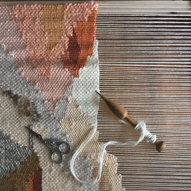 Weaving on the loom by Maryanne moodiec