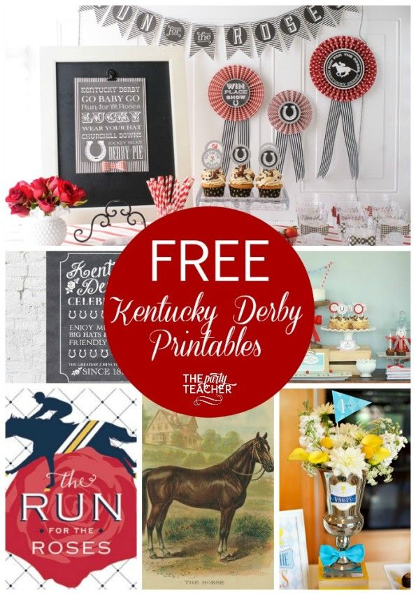 Great collection of FREE Kentucky Derby party printables at The Party Teacher | http://thepartyteacher.com/2015/05/01/freebie-friday-free-kentucky-derby-printables/