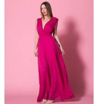 cfbfd538fcfd Μάξι Κρουαζέ Φόρεμα με Ζώνη - Φούξια   SS 2018   Nostress Fashion ...