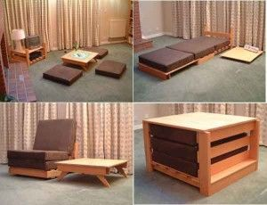 Living room ~ Futon / Chair/ Table /Floor cushions stackable convertible furniture