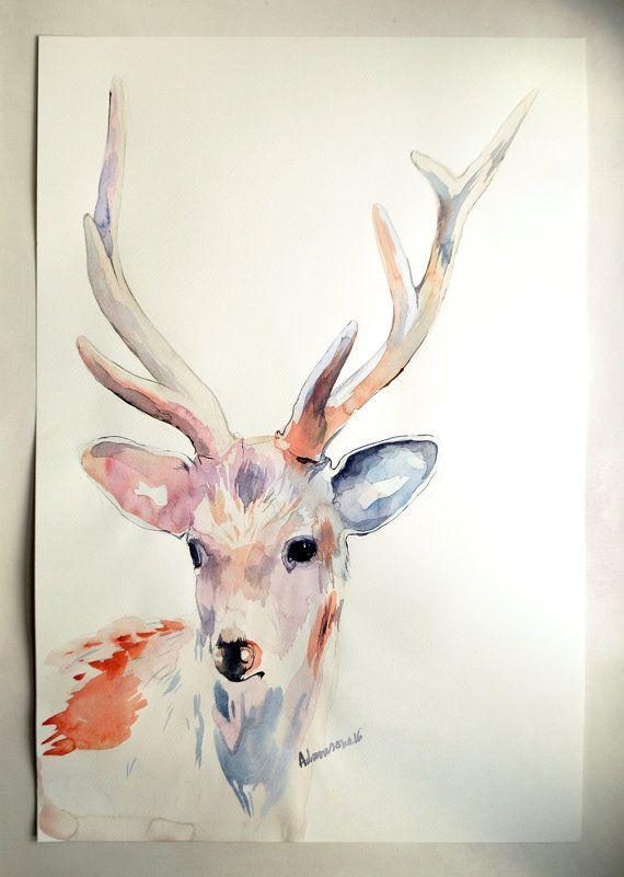 Deer original watercolor painting. Unusual by AlisaAdamsoneArt