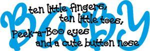 Baby Boo Decor - Baby-Ten little fingers, ten little..., $29.50 (http://www.babyboodecor.com/baby-ten-little-fingers-ten-little/) #babydecor #babyroom #kidsroom #vinylwallart