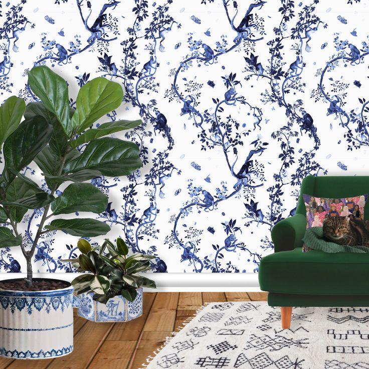 New! The MONKEY WORLD print is now available on wallpaper in blue!  #fifikoussout #print #design #art #illustration #homedecor #interior #wallpaper #home #blue #toile #jouy #monkey #animal #jungle #japonisme #chinoiserie #SpoonFlower #houseandgarden #interiordesign #wall