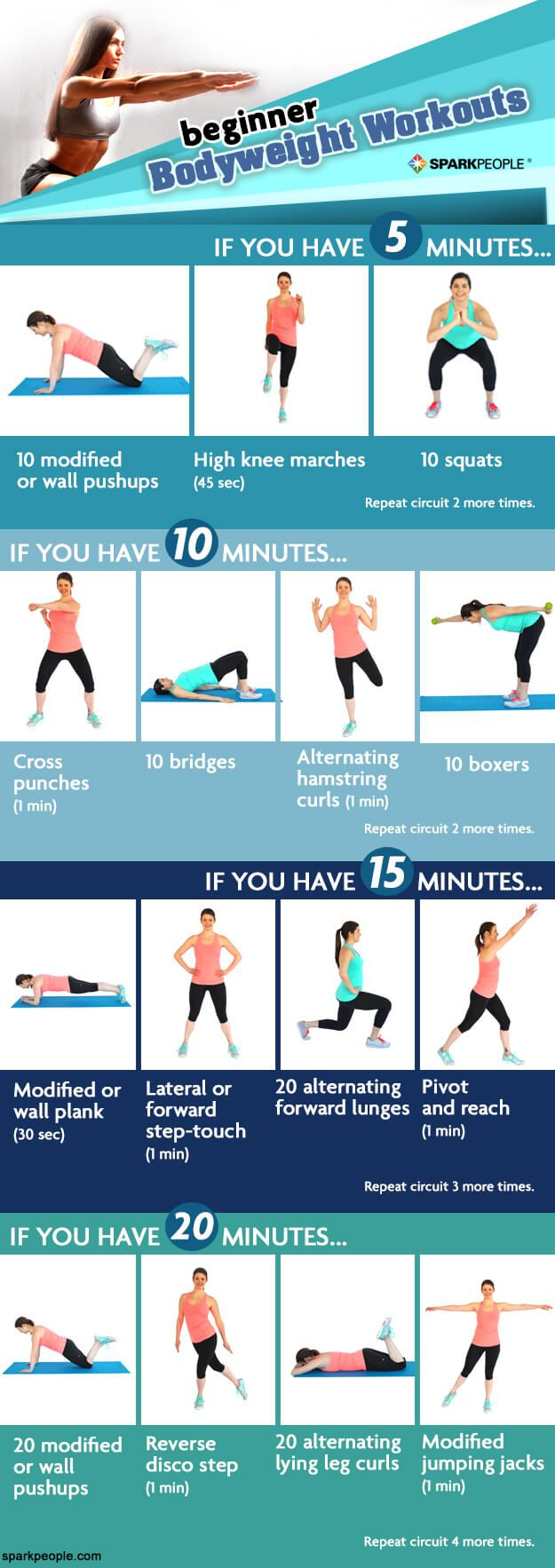 Get the biggest bang for your bodyweight buck with these beginner workouts. You can get in a workout in 5, 10, 15 or 20 minutes! YOU CAN DO IT!