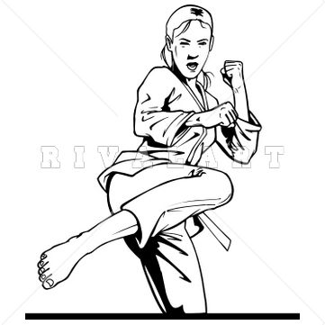 Sports Clipart Image of Black White Girl Kicking Martial Arts Woman Womens Taekwondo Karate Graphic http://www.rivalart.com/cart/pc/viewCategories.asp?idCategory=210opid=5