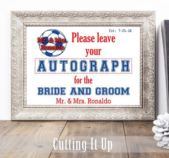 Soccer Wedding Guest Book Sign, Poster, Sports Theme, Autograph GuestBook, Bat Bar Mitzvah, Reception, Party Table Decor, MLS Premier League