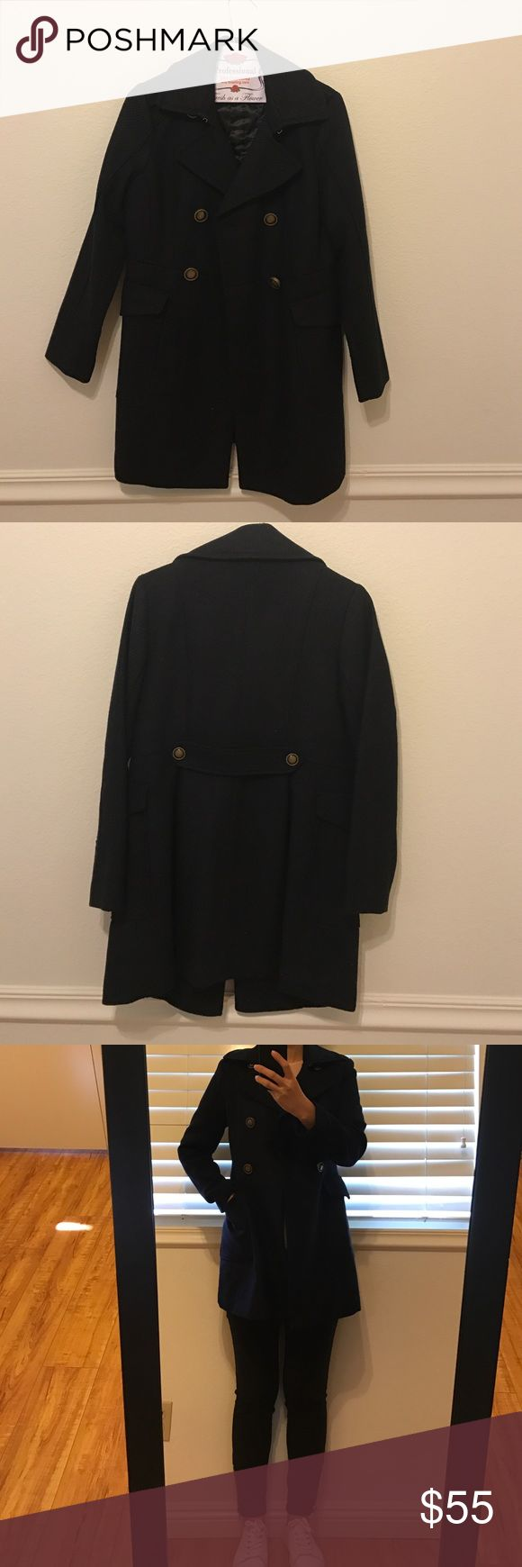 Gap coat Wore only once. Dry cleaned. Size is xsmall/ petite but good for small as well & color is navy GAP Jackets & Coats Pea Coats