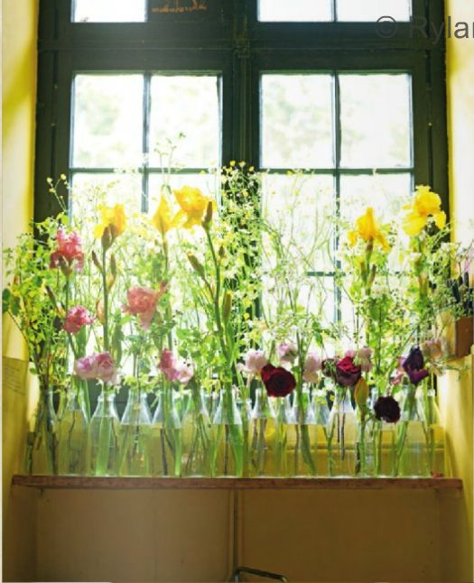 gorgeous i want a window like this.Beautiful Bottle, Http Decorology Blogspot Com, Bottles Jars, Pretty Floral, Bright Flower, Windows Flower, Fresh Flower, Diy, Shabby Vintage