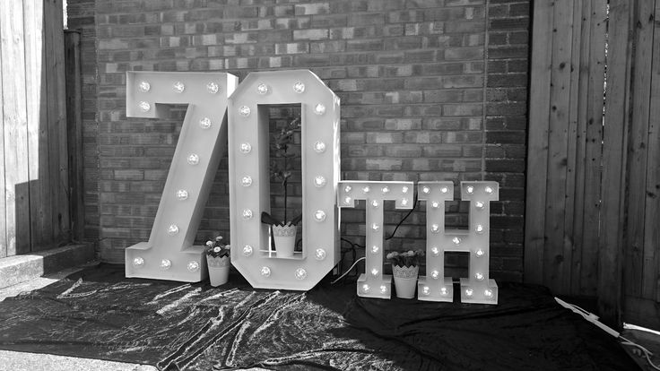 70th Large Light Up Letters for Birthday Celebrations.