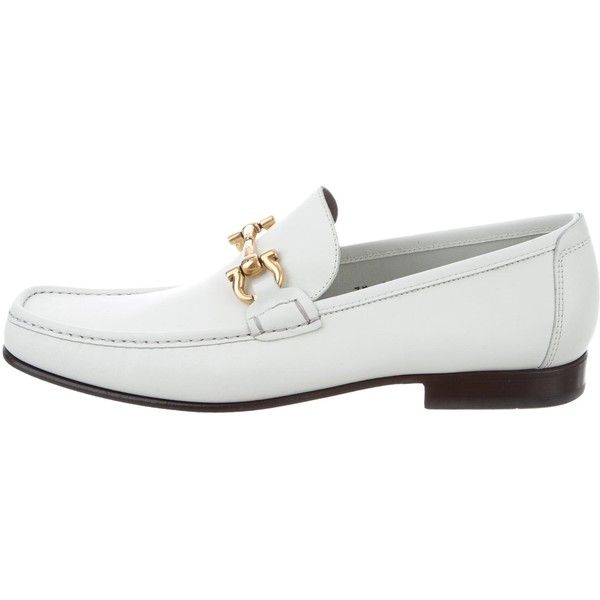 Pre-owned Salvatore Ferragamo Gancini Dress Loafers ($295) ❤ liked on Polyvore featuring men's fashion, men's shoes, men's dress shoes and white