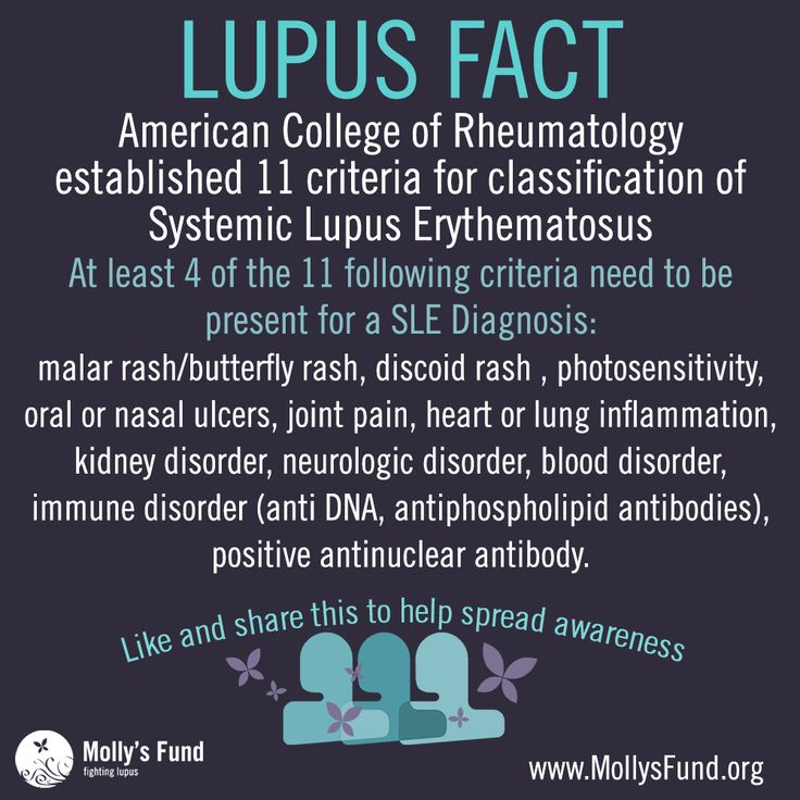 LUPUS FACT: American College of Rheumatology established 11 criteria for classification of  Systemic Lupus Erythematosus. At least 4 of the 11 criteria need to be present for a SLE diagnosis. www.mollysfund.org