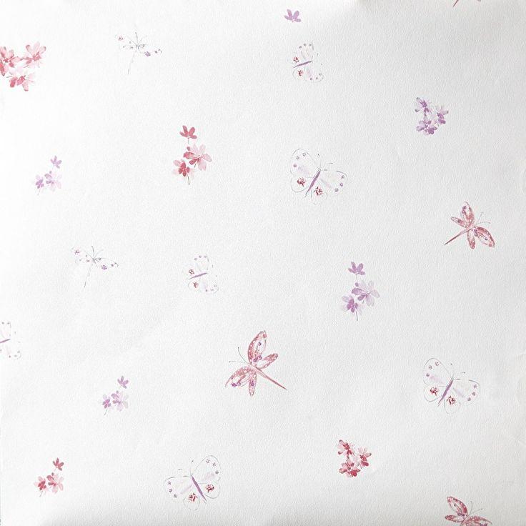 Caselio Bloemen en Vlinderbehang in roze lila paars