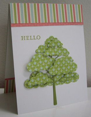 Tree made from clouds (Cute idea!) - Hello handmade card  So very cute - I'll have to try this.
