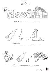 Jeu de lettres : rébus facile pour enfants à imprimer