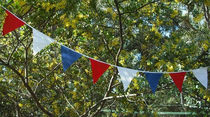 red white and blue bunting for australia day. ill make with paper
