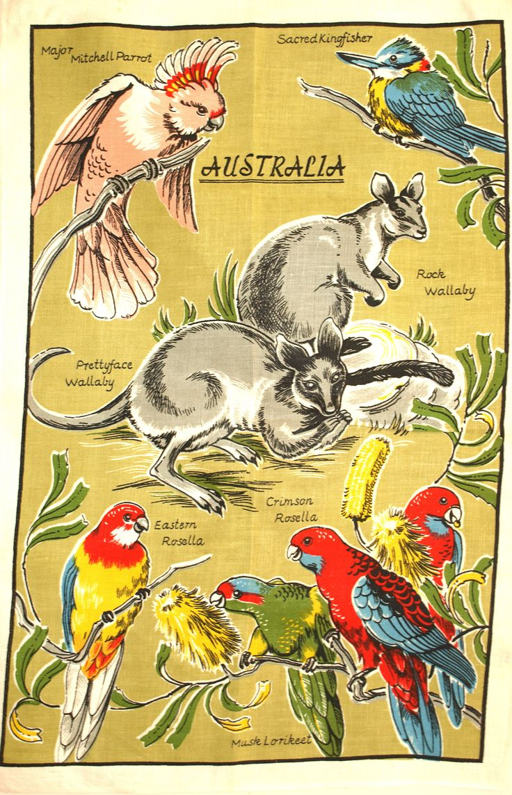 Australian Birds & Animals Tea Towel - 60s Pure Linen Australia Native Wildlife Rosella Kangaroo Souvenir - New Old Stock by FunkyKoala on Etsy