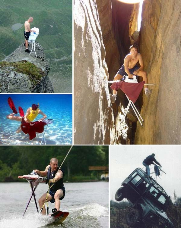 """The international EXTREME IRONING competition. This series of events is based on scenescapes: urban, water, forest, rocky and freestyle. Ironing effectively in a sloppy jalopy of a car is the test for """"urban"""", in """"water"""" contestants have to iron in a fast flowing river (what a great idea this was, by the way), in """"forest"""" the competitors would have to climb to the top of a tree and iron and """"rocky"""" was an indoor rock wall"""