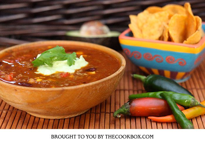 Mexican Beef Soup with Guocamole Cream