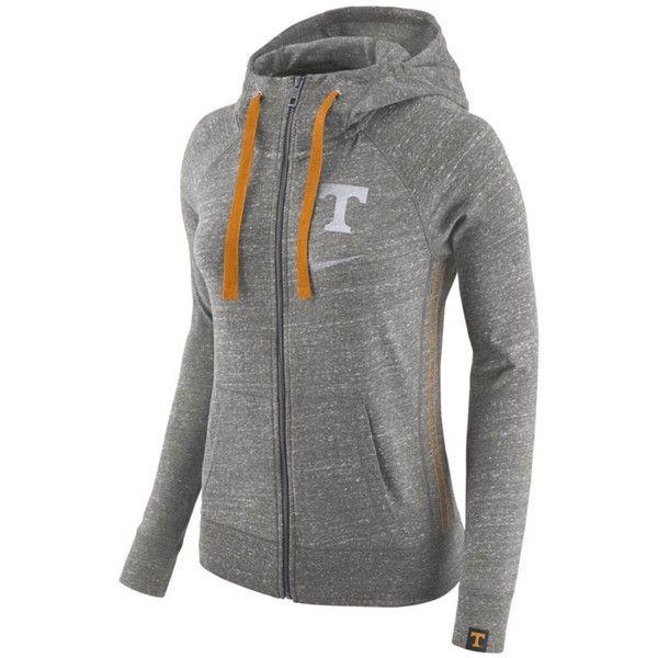 Nike Women's Tennessee Volunteers Vintage Full-Zip Hoodie (255 ILS) ❤ liked on Polyvore featuring tops, hoodies, orange, orange hoodie, nike hoodie, zipper hoodies, zipper hoodie and hooded sweatshirt