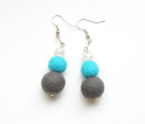Felted earrings 39 felt balls cracked glass by MarudaFelting
