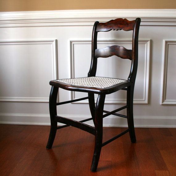 Painted Green Accent Chair Wood Antique: Antique Wood Accent Chair With Caning Desk Boudoir Dining