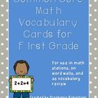 Thank you for looking at my Common Core Math Vocabulary Cards for First Grade.  This file is math vocabulary words with pictures that correlate to ...