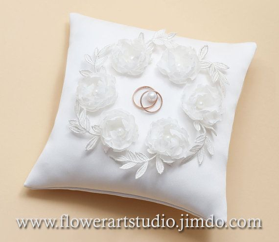 Wedding Ring Pillow Ivory Bearer With Flowers Accessories