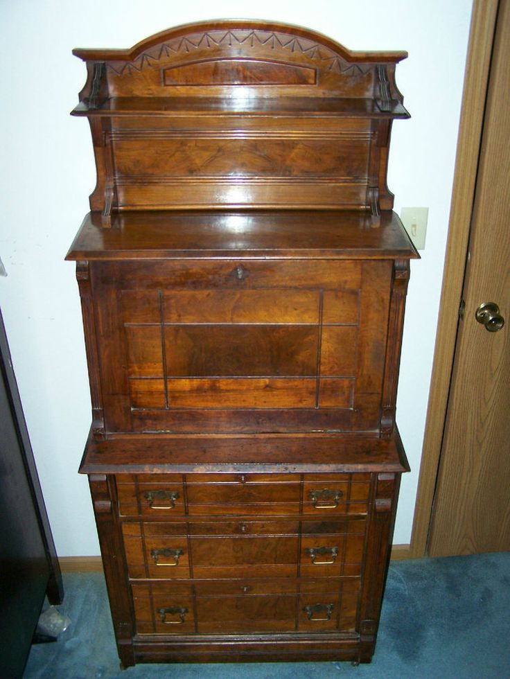 Secretary Desk Slant Drop Down Front With Bookcase And