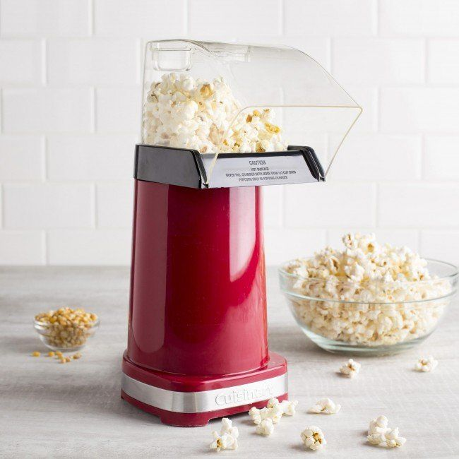 The Cuisinart Easy Pop Popcorn Maker makes up to 10 cups of fresh, hot popcorn in under 3 minutes! Easy to use air popper requires no oil, making Easy Pop popcorn a healthy alternative to microwave popcorn. With an Easy Pop machine you decide how much butter and salt to flavour your popcorn, or use a healthy alternative seasoning.