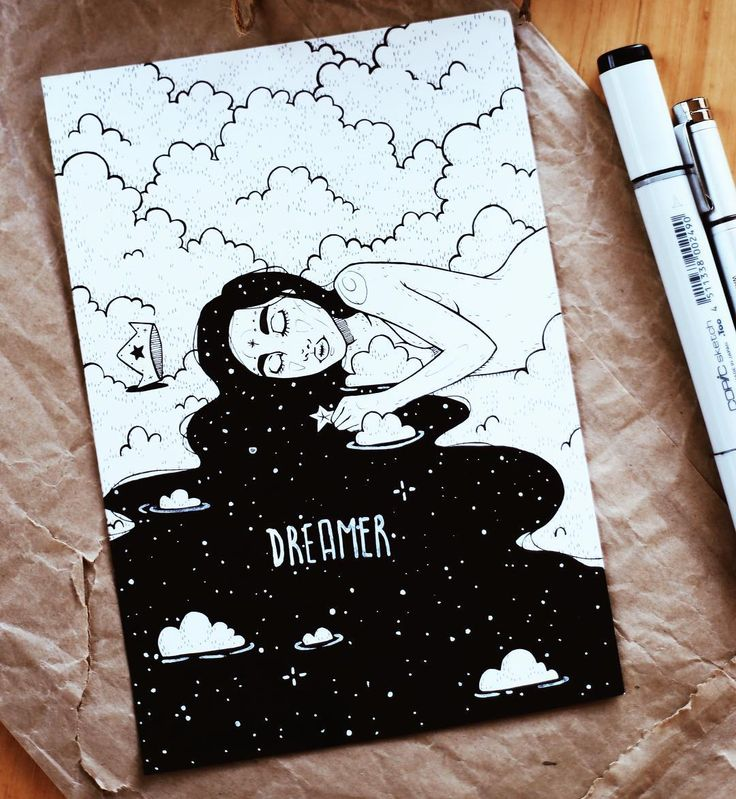 "643 Likes, 11 Comments - artist. melbourne.  (@dinasaurus.art) on Instagram: ""dreamer ☁️⭐️ made with copic sketch marker and copic multiliner. its the finished version of a…"""