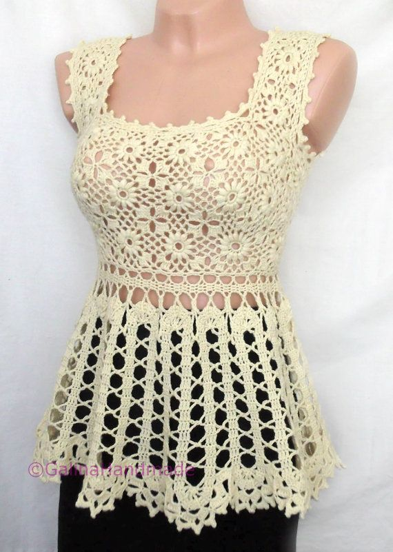 Crochet Summer Top Tunic Irish Lace Bruges  Lace by GalinaHandmade, $80.00