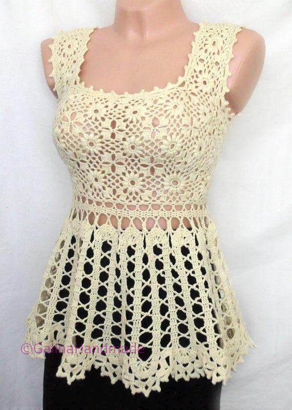 Crochet verano túnica de baño Cover Up encaje irlandés Brujas encaje amarillo