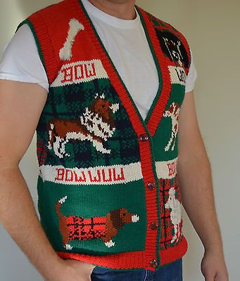 Mens Ugly Christmas Sweater Vest Size L Large Dogs Poodle Collie Vintage 80s