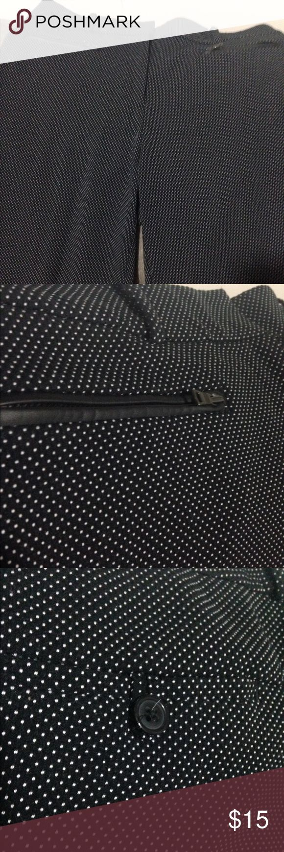 Black and white Crop Pants Ann Taylor curvy fit crop pants. Black with tiny white polka dots, zip pockets in front and button pockets in back. Comes to ankle. Size 10,true to fit. Great condition 👖 Ann Taylor Pants Capris