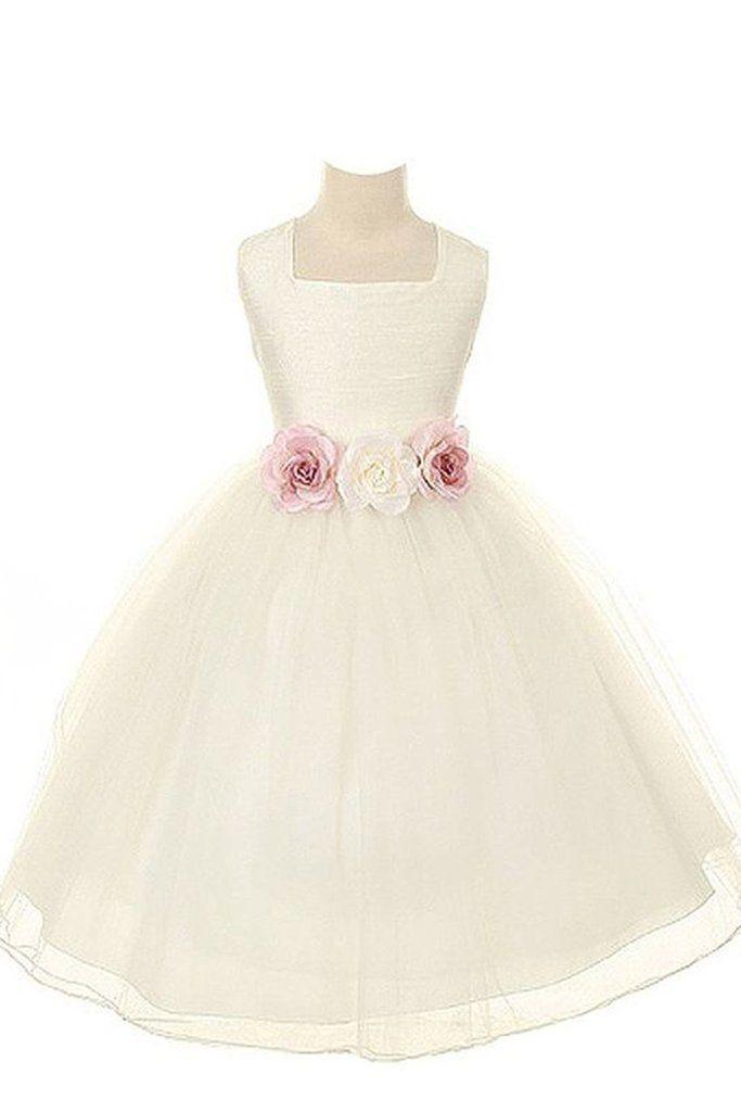 31081a607b8 Princess ivory organza A-line handmade flowers applique girls dress with  straps