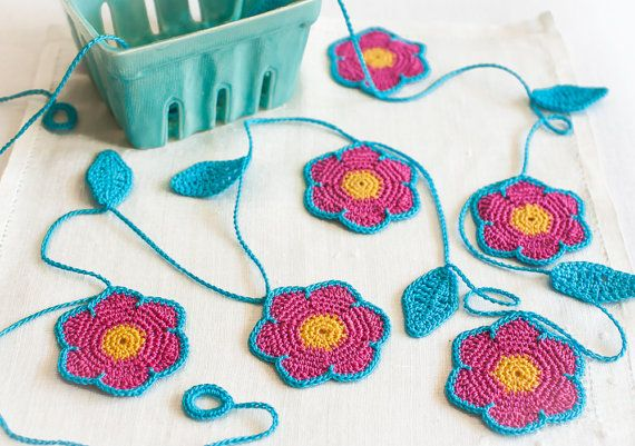 Hot Pink and Turquoise Modern Crochet Flower Garland by BobbiLewin,